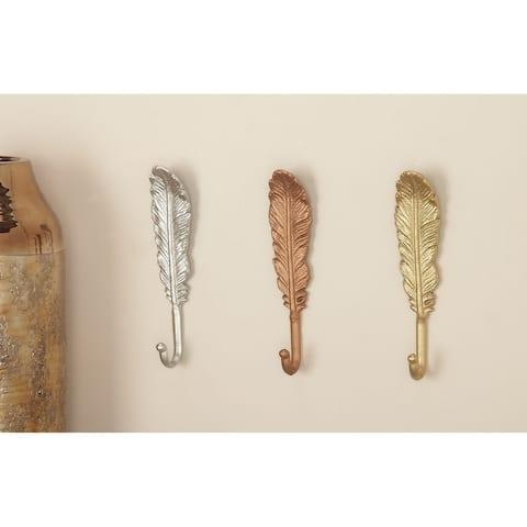 """Metallic Metal Feather Sculpture Wall Hooks Set of 3 2"""" x 9"""" Each"""