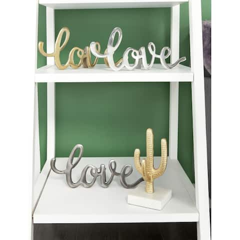 "Set of 3 Metal ""Love"" Signs w/ Gold, Silver, & Gray Finishes 14"" x 6"""