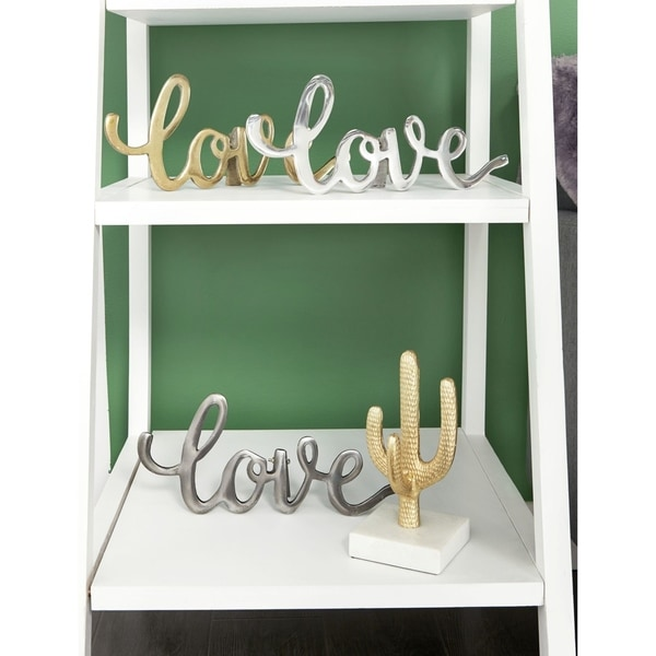 """Set of 3 Metal """"Love"""" Signs w/ Gold, Silver, & Gray Finishes 14"""" x 6"""""""