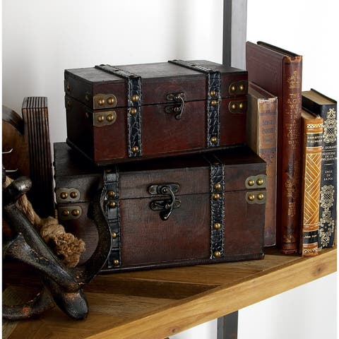 Copper Grove Hidden Springs Vintage Appeal Wood Leather Box (Set of 2)