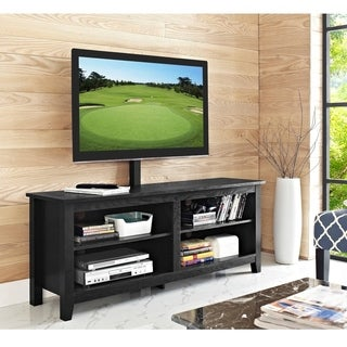 Porch & Den Harmony 58-inch Black Wood TV Stand with Mount