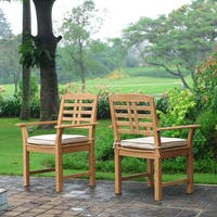 Havenside Home Goodwin 2-piece Teak Dining Chair Set with Taupe seat pads