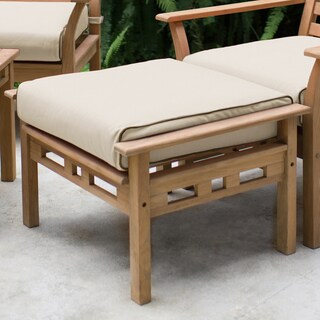 Link to Goodwin Teak Ottoman with Taupe Cushion by Havenside Home Similar Items in Outdoor Sofas, Chairs & Sectionals
