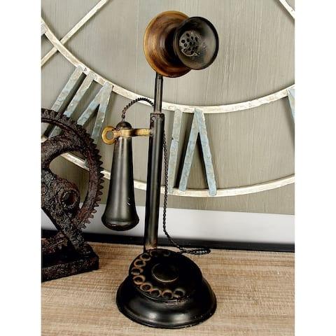 """Copper Grove Hidden Springs Metal Antique Phone Figurine (13 x 5) - 13""""h x 5""""w"""