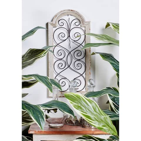 """The Gray Barn Krape Rustic Distressed Ivory Wash Wood Arched Wall Panel - 10""""w x 20""""h"""
