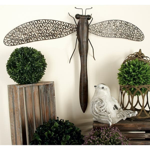 Shop The Curated Nomad Jiminez Antique Brown 37 Inch Wide Metal Dragonfly Home Decor Overstock 21167153