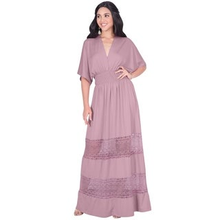 KOH KOH Womens Sexy Summer Beach Day V-neck Casual Modest Maxi Dress