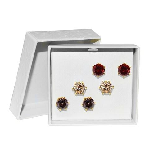 Goldtone 'Love' Cubic Zirconia Earring Stud Trio Set-8mm
