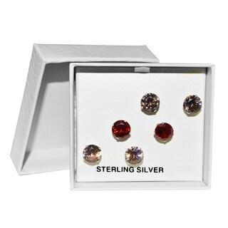 Sterling Silver 'Love' Cubic Zirconia Earring Stud Trio Set-7mm