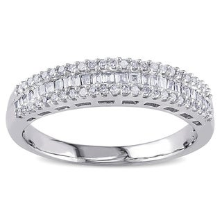 Link to Miadora 14k White Gold 1/3ct TDW Baguette Diamond Anniversary Band Similar Items in Rings