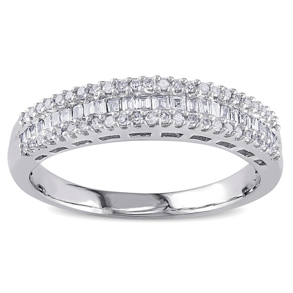 Miadora 14k White Gold 1/3ct TDW Baguette Diamond Anniversary Band (H-I, I2)