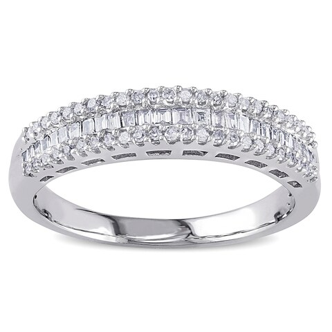 Miadora 14k White Gold 1/3ct TDW Baguette Diamond Anniversary Band