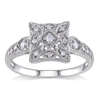 Miadora 14k White Gold Diamond Vintage Square Ring