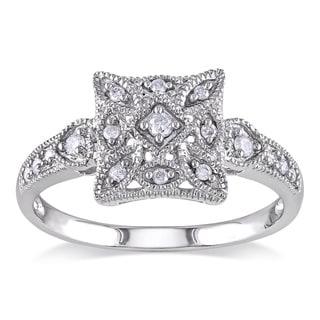 Miadora 14k White Gold Diamond Vintage Square Ring