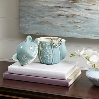 Madison Park Blue Fox Ceramic Canister