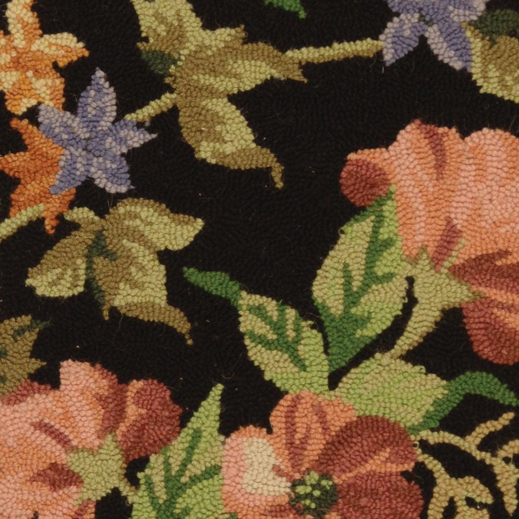 Safavieh Hand-hooked Midnight Garden Black Wool Runner (2' 6 x 4') - Thumbnail 1