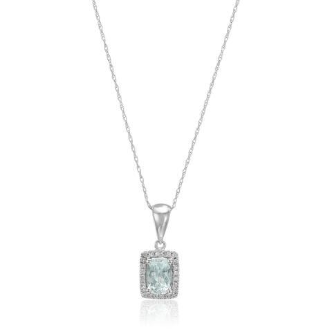 "Pinctore 10k White Gold Aquamarine & Diamond Diana Pendant Necklace, 18"""