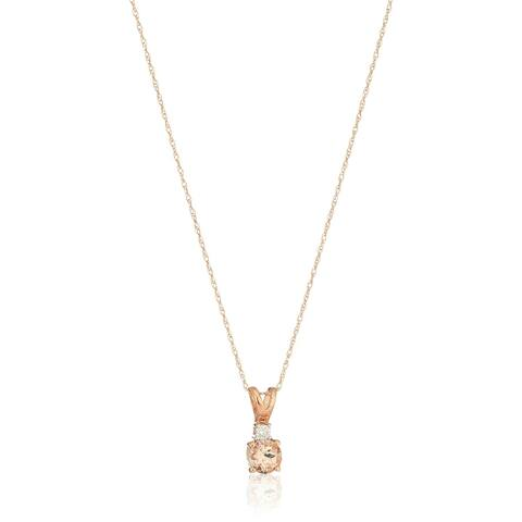 """Pinctore 10k Rose Gold Morganite and Diamond Solitaire Pendant Necklace, 18"""""""