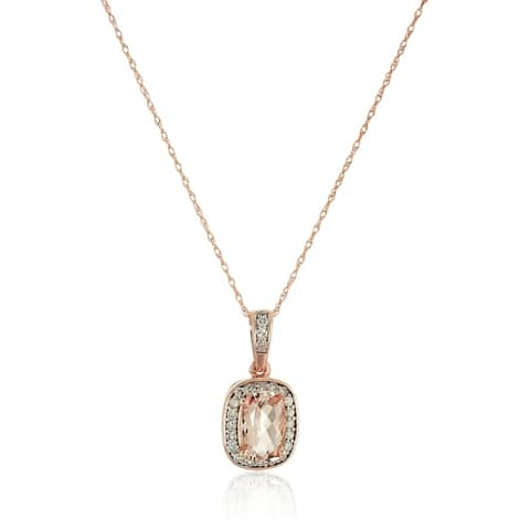 10k Rose Gold Morganite Cushion and Diamond Halo Pendant Necklace, 18""