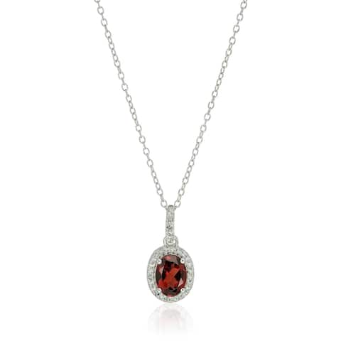 Sterling Silver Oval Garnet and White Topaz Pendant Necklace, 18""