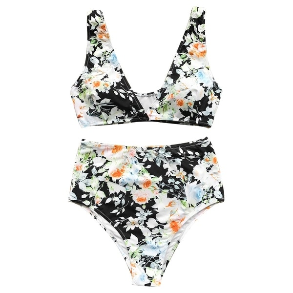 3f4c41d111940 Cupshe Women's Floral Print V neck Padded High-waisted Bikini Set.  Click to Zoom
