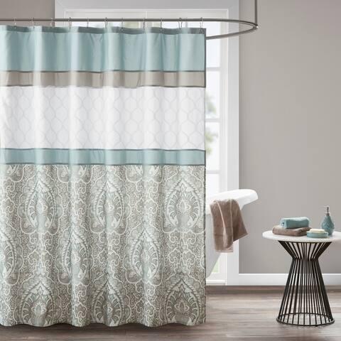510 Design Josefina Seafoam Printed and Embroidered Shower Curtain