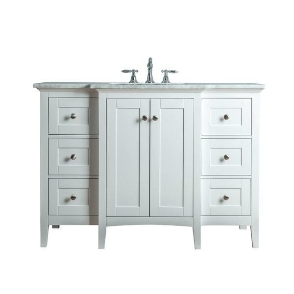 Stufurhome Tower Modern 48 Inches White Single Sink Bathroom Vanity -  Overstock - 21170285