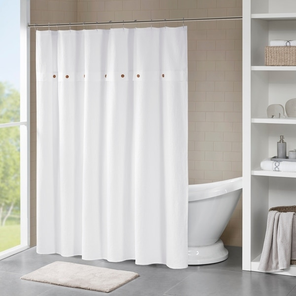 shop madison park rianon cotton waffle weave shower curtain 3 color option free shipping on. Black Bedroom Furniture Sets. Home Design Ideas