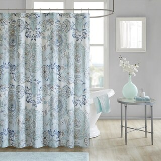 Madison Park Loleta Blue Cotton Printed Shower Curtain