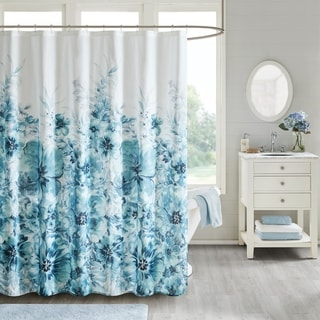 Madison Park Adella Floral Cotton Printed Shower Curtain 2 Color Option