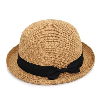 Women Soft Straw Round Top Fedora Hat Ribbon Bowler