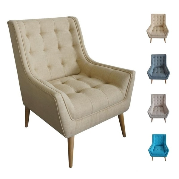 Shop Palm Canyon Janet Tufted Fabric Wingback Chair Mid