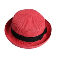 Girl Soft Straw Round Top Fedora Hat Ribbon Bowler