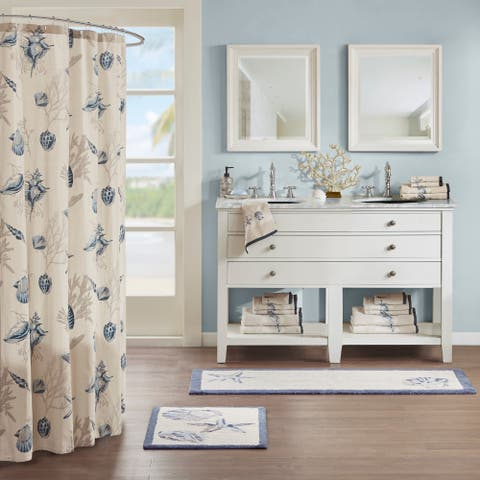 Madison Park Nantucket Blue Cotton Tufted Runner