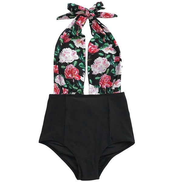 dcdf72824f5 Shop Cupshe Women's Floral Print Deep V neck Halter One-piece Swimsuit  Beach Swimwear - Free Shipping On Orders Over $45 - Overstock - 21170836