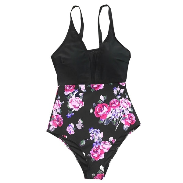 34ab667769a Shop Cupshe Women's Floral Print Deep V neck Mesh Splicing One-piece  Swimsuit Halter Bikini Beach Swimwear - Free Shipping On Orders Over $45 -  Overstock - ...