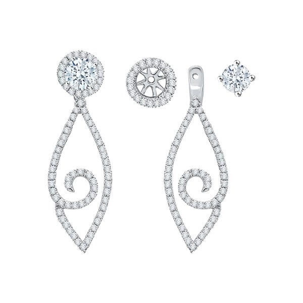 14k White Gold 3 4ct Tdw Diamond Drop Earring Jackets I J I1