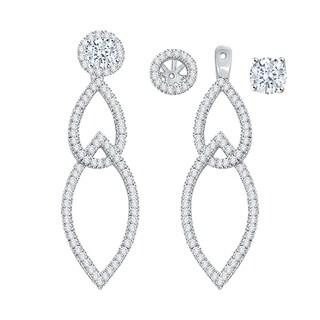 14k White Gold 1ct TDW Diamond Drop Earring Jackets (I-J, I1)