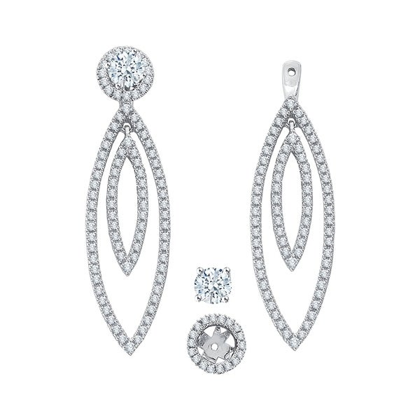 14k White Gold 1ct Tdw Diamond Drop Earring Jackets I J I1