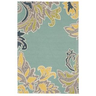 Liora Manne Ravella Ornamental Leaf Border Outdoor Rug (8'3 x 11'6) - 8'3 x 11'6