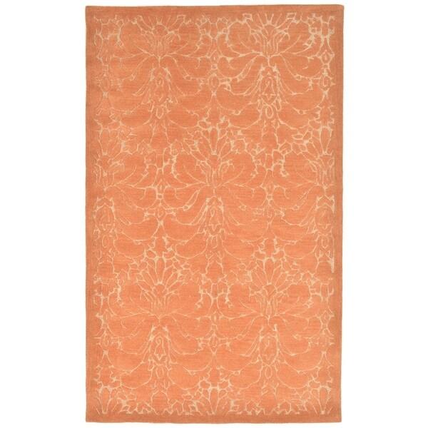 Fleur De Lys Orange White Wool Contemporary Floral Area Rug 8 X 10