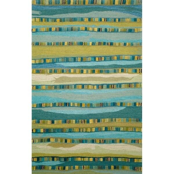 Liora Manne Seville Mosaic Stripe Indoor Wool Rug Blue 8' X 10' - 8' x 10'