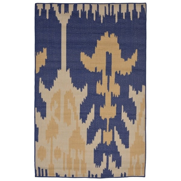Shop Tribal Blue Yellow Synthetic Casual Flatweave Indoor Outdoor