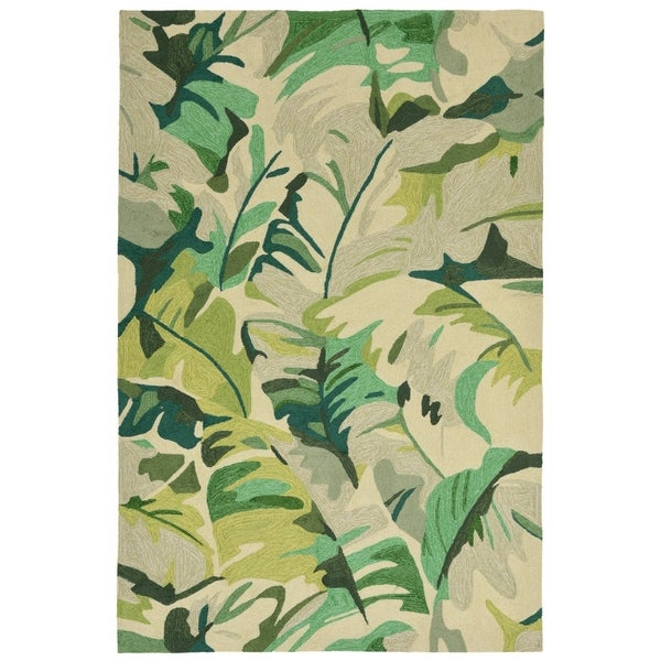 Liora Manne Capri Fan Leaf Outdoor Rug (3'6 x 5'6) - 3'6 x 5'6