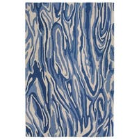 Variegated Swirl Navy Synthetic Area Rug (7'6 x 9'6)