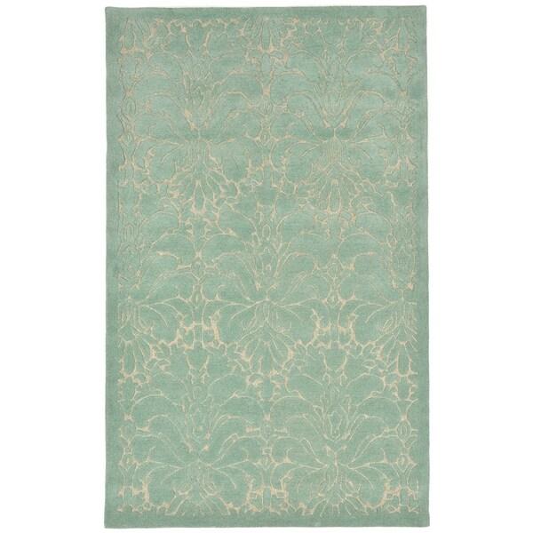 "Liora Manne Seville Modern Damask Indoor Wool Rug Aqua 3'6"" X 5'6"" - 3'6 x 5'6"
