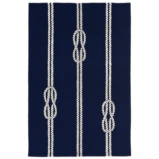 Liora Manne Capri Nautical Twine Outdoor Rug (3'6 x 5'6) - navy - 3'6 X 5'6