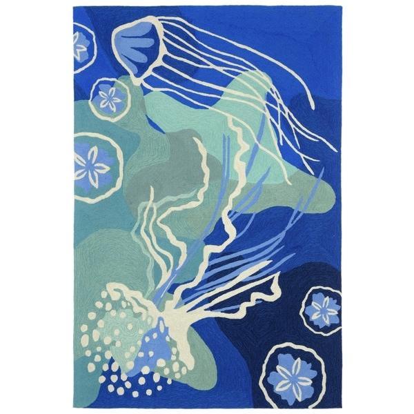 Liora Manne Capri Jellyfish Outdoor Rug (3'6 x 5'6) - 3'6 x 5'6
