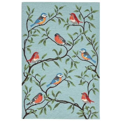 Liora Manne Ravella Birds On Branches Indoor/Outdoor Rug Aqua