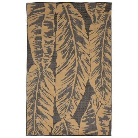 Liora Manne Tropical Leaf Outdoor Rug (7'10 x 7'10) - 7'10 x 7'10